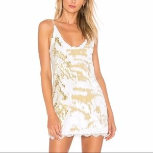 White and Gold Seeing Double Sequin Slip Dress